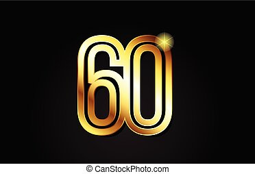 gold number 60 logo icon design