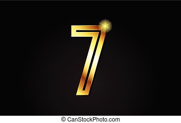 gold number 7 logo icon design