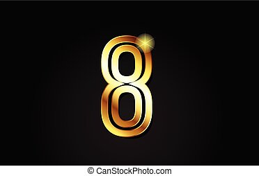 gold number 8 logo icon design