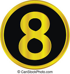 Gold number eight button