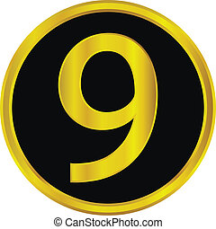 Gold number nine button