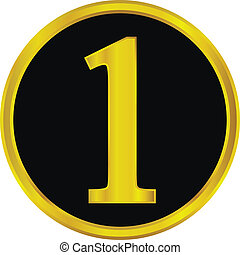 Gold number one button
