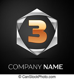 Gold Number Three logo symbol in the colorful silver hexagonal on black background. Vector template for your design