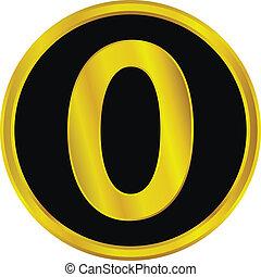 Gold number zero button