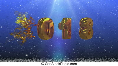 gold numbers 2018 on a blue background