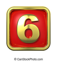 Gold Numbers in Frame, on Red Background - Number 6