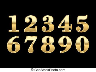 Gold numbers isolated - Gold numbers set. Golden metallic...