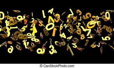 Gold numbers on black background