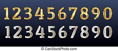 Gold and silver numbers. White gold figures. Design for birthday, anniversary, Christmas and other festive dates. 3d realistic vector illustration.