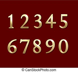Gold numbers. Vector illustration