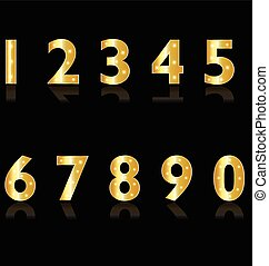 Gold numbers with lights logo