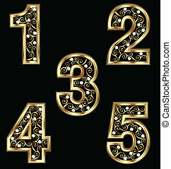 Gold numbers with swirly ornaments vector eps10