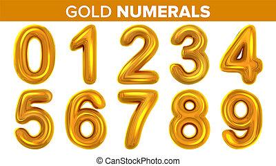 Gold Numerals Set . Golden Yellow Metal Letter. Number 0 1 2 3 4 5 6 7 8 9. Alphabet Font. Typography Design Element. Party Background. Foil Symbol. Bright Metallic 3D Realistic Illustration