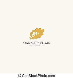 Gold Oak City Film Logo Design, leaf oak