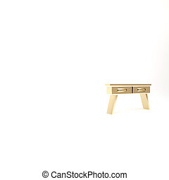 Gold Office desk icon isolated on white background. 3d illustration 3D render