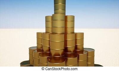 Gold oil barrel on sand 4k