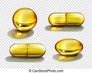 Gold oil capsules, vitamine round and oval pills. Cosmetics...