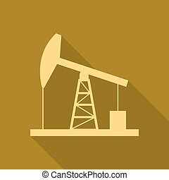 Gold oil derrick icon. Simple flat vector illustration, EPS...