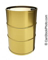 Gold oil drum. 3D render.