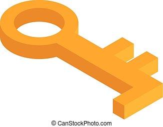 Gold old key icon, isometric style - Gold old key icon....