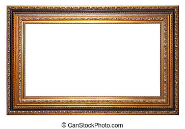 Gold old picture frame isolated on white