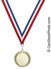 Gold olympics medal blank with clipping path - A gold...