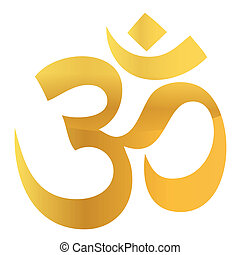 Gold Om Aum Symbol isolated over white