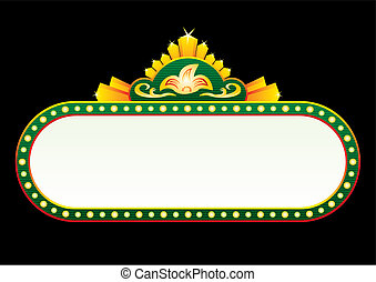 Neon sign in green colours and gold decorations
