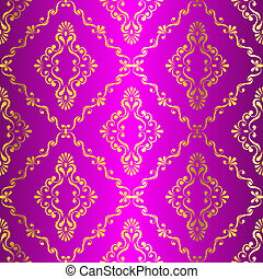Gold on Pink seamless swirly Indian pattern