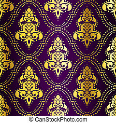 stylish vector background with a metallic damask pattern inspired by Indian art. The tiles can be combined seamlessly. Graphics are grouped and in several layers for easy editing. The file can be scaled to any size.