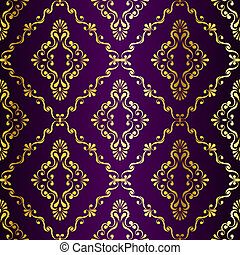 Gold on Purple seamless swirly Indian pattern