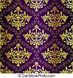 Gold on Purple seamless swirly Indian pattern - stylish...