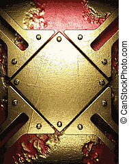 gold on red background