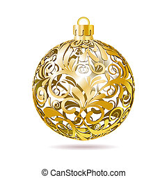 Gold Openwork Christmas ball on white background.