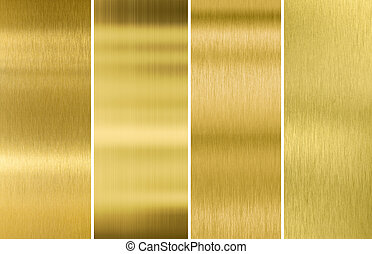 Gold or brass brushed metal texture backgrounds set - Four...