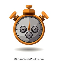 gold or yellow stopwatch on a white background