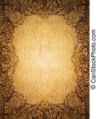 Gold ornament flower frame vintage in old paperbackground -...