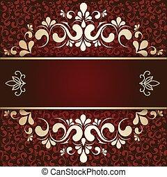 gold ornament on a burgundy background card - Burgundy ...