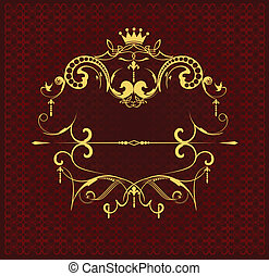 Gold ornament on brown background.
