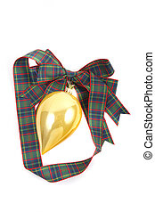 Gold Ornament on Plaid Ribbon on White