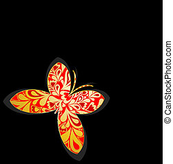 Gold ornamental butterfly. Vector