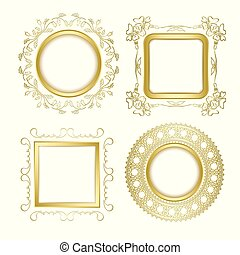 gold ornamental vector frames with transparent shadow - round and square vintage