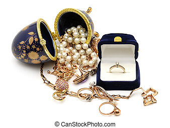 Gold ornaments isolated on a white background...