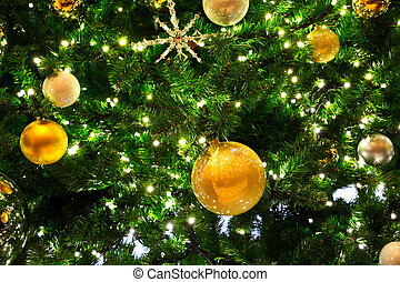 Gold Ornaments on Tree