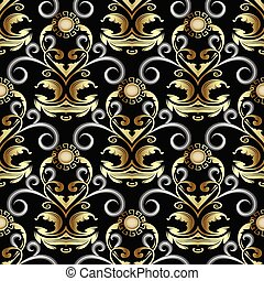 Gold ornate Baroque Damask seamless pattern. Vector rich floral