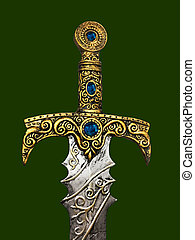 Gold ornate broadsword hilt