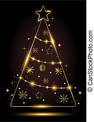 Gold outline of Christmas tree