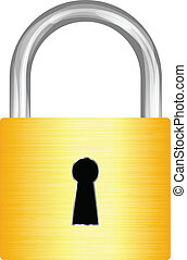 Gold padlock on white background