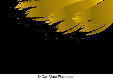 Gold Paint brush strokes on the Black Background with space for your for text.