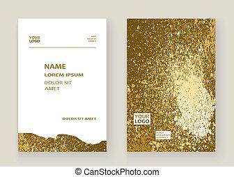 Gold paint splash, splatter explosion glitter artistic frame cov
